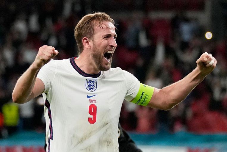 Harry Kane juicht, hij scoorde de 'winning goal'. Beeld Pool via REUTERS