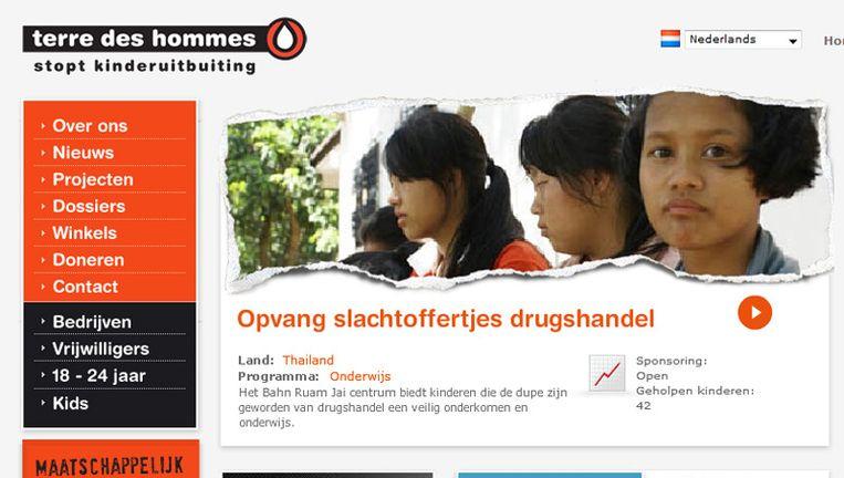 Screenshot website Terre des Hommes. Beeld