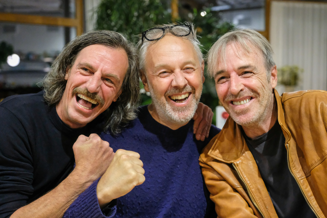 Smos (links) tijdens zijn laatste interview met Jan Van Biesen en Sven Van Hees in september 2019.