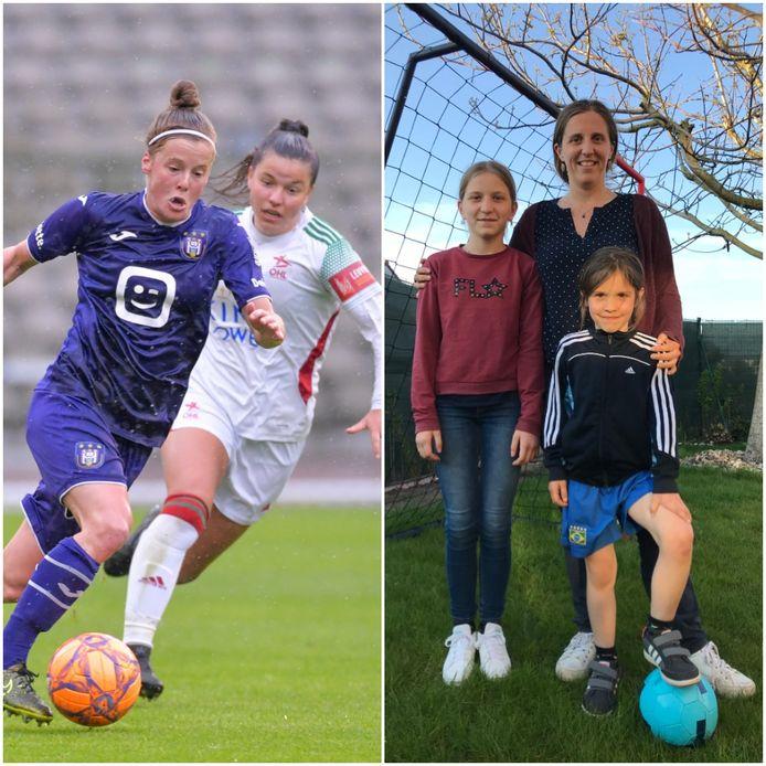 Links: Laura Deloose (Anderlecht) en Luna Vanzeir (OHL) gelden als rolmodellen voor veel meisjes, zoals Femke (7) en mama Mieke Depoot