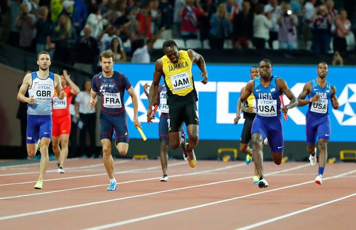Usain Bolt valt uit met een blessure in zijn laatste wedstrijd.