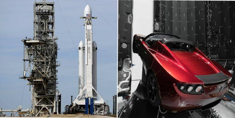 De krachtigste draagraket staat klaar in haar lanceerplatform. Aan boord ook de rode Tesla van Elon Musk.