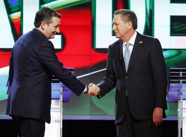 Ted Cruz en John Kasich tijdens een debat in maart. Beeld null
