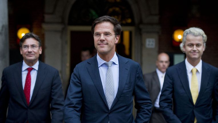 Verhagen, Rutte en Wilders. Beeld null