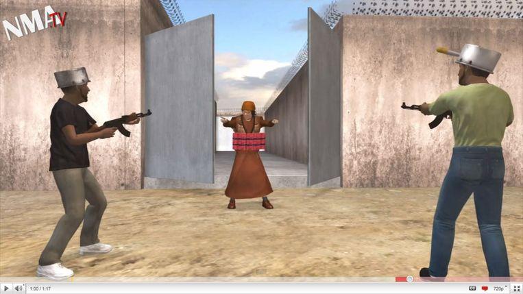 Kaddafi in een nieuws-animatie van het Taiwanese NMA.TV Beeld