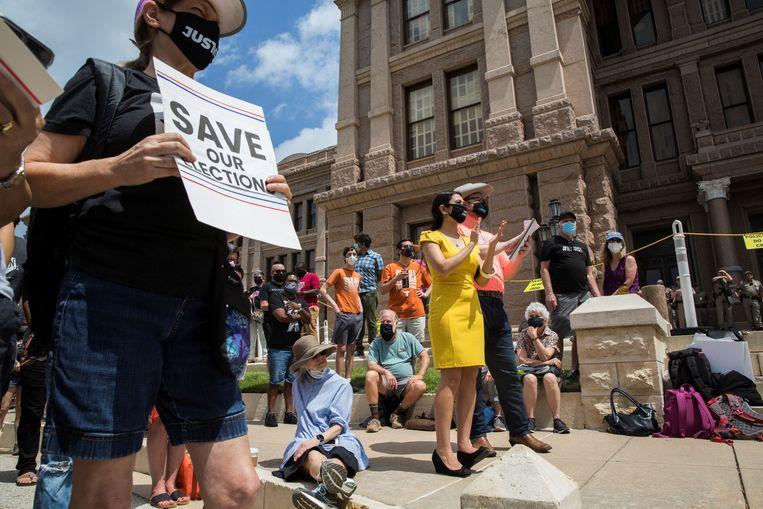 Protest tegen een wetsvoorstel voor het beperken van het stemrecht in Austin, Texas. Beeld REUTERS