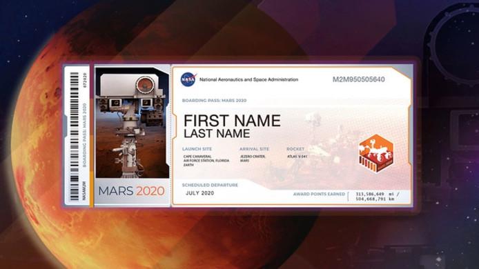 De boardingpass voor Mars.