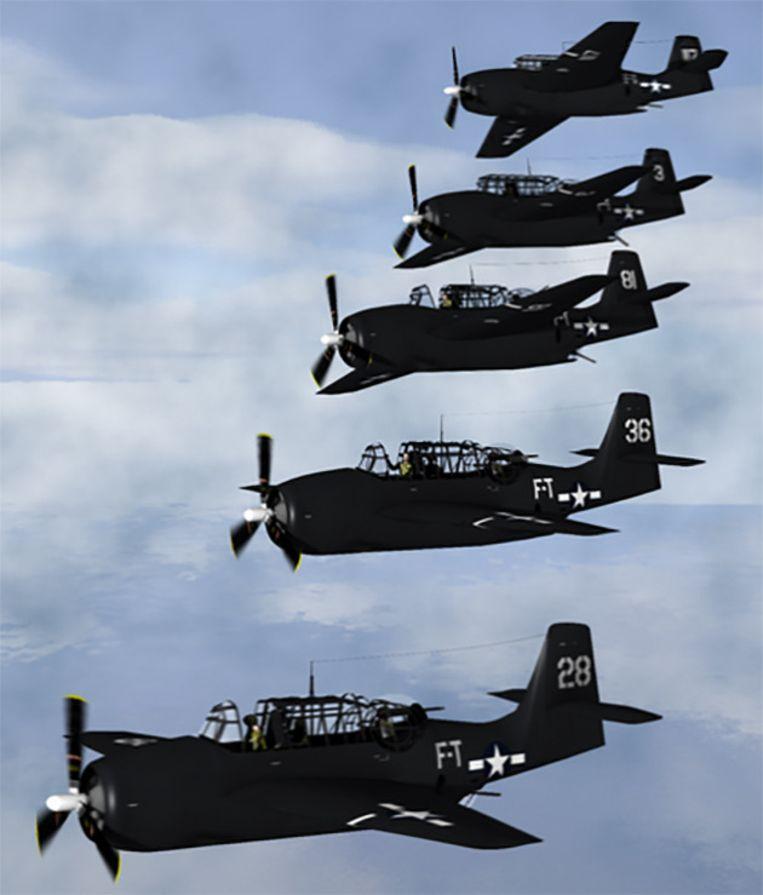 Flight 19, een vlucht van vijf oorlogsvliegtuigen, verdween spoorloos boven de Bermudadriehoek in 1945. Beeld Wikipedia