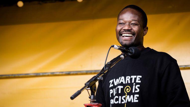 Jerry Afriyie zorgde mede voor de invoering van de Nieuwe Piet in Amsterdam Beeld anp