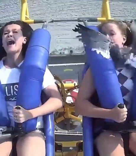 Une adolescente se prend une mouette en plein visage dans une attraction à sensations fortes