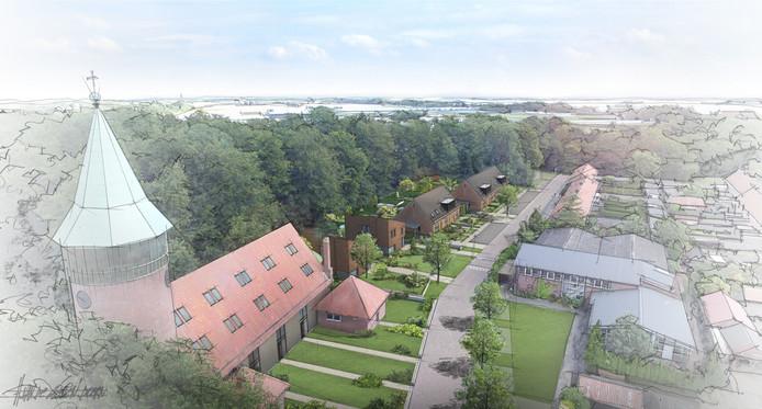 Visuele uitwerking van de plannen voor de voormalige katholieke kerk in Luttelgeest.