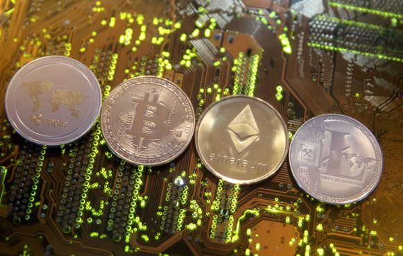 Virtuele munten Ripple, Bitcoin, Etherum en Litecoin.