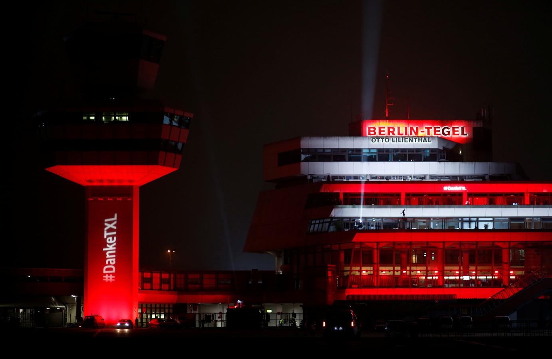 Speciale sfeerverlichting om het einde van luchthaven Tegel in te luiden.