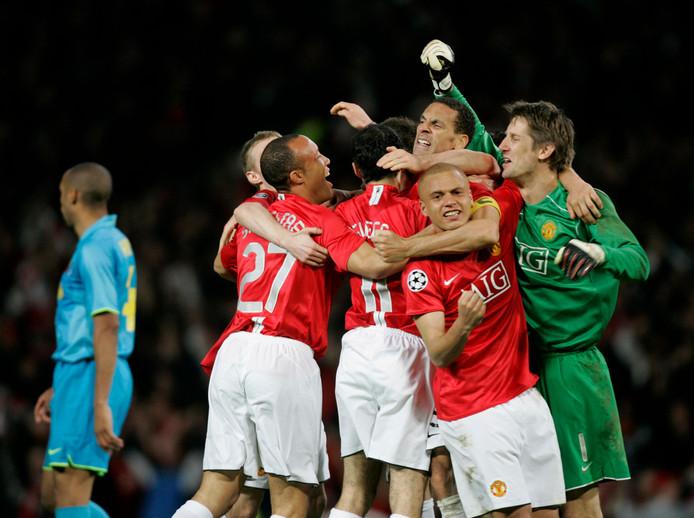 Vreugde bij de spelers van Manchester United na de zege op FC Barcelona op 29 april 2008.