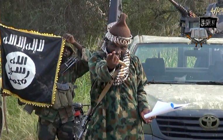 Een screenshot van een propagandavideo van Boko Haram toont de vermoedelijke leider van de beweging, Abubakar Shekau. Beeld afp