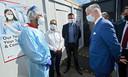 De koning bracht ook een bezoek aan het coronatestcentrum op Zaventem.