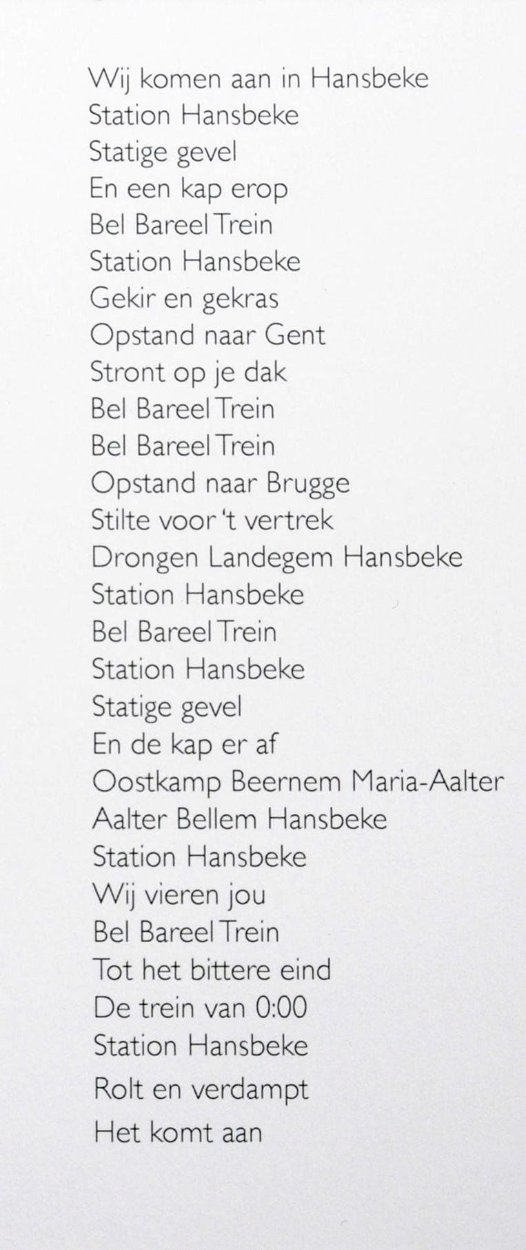 De tekst op het bidprentje voor Hansbekestation.