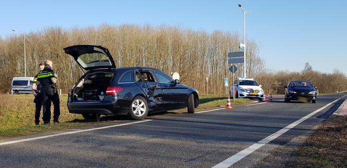 De auto liep forse schade op bij het ongeval.