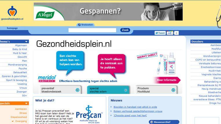 De website Gezonheidsplein.nl Beeld