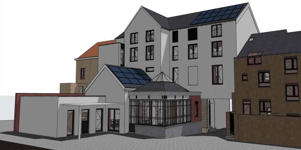 De toekomstige achterzijde van Buurtwerk 't Lampeke in Leuven.