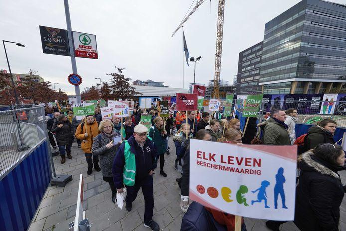Foto ter illustratie. Beelden van een traditionele manifestatie tegen abortus in Utrecht in november 2019. De demonstratie was een initiatief van stichting Schreeuw om het Leven.