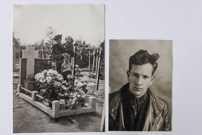 Links de moeder van Cor van Zon, de inmiddels overleden partner van Ine Kuijs. De jonge Cor staat voor zijn moeder, op de arm zit de zus van Cor. Ze staan bij het graf van de in mei 1940 gesneuvelde Johannes (Loek) van Zon, de vader van Cor. Rechts een foto van de in mei 1940 in Kessel aan de Maas gesneuvelde Loek van Zon.