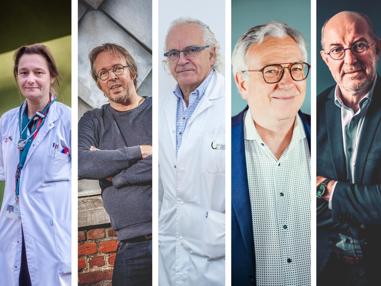 Erika Vlieghe, Tom Wenseleers, Marc Noppen, Dirk Devroey en Pierre Van Damme. Beeld RV