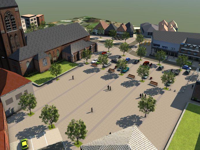 Conceptbeelden van hoe de 'vernieuwde' autoluwe Markt er zou kunnen uit zien in Meulebeke.