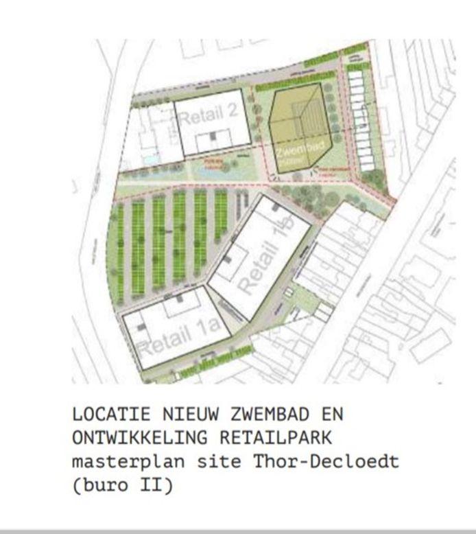 Het huidige plan voor de inrichting van site-Thor in Torhout.