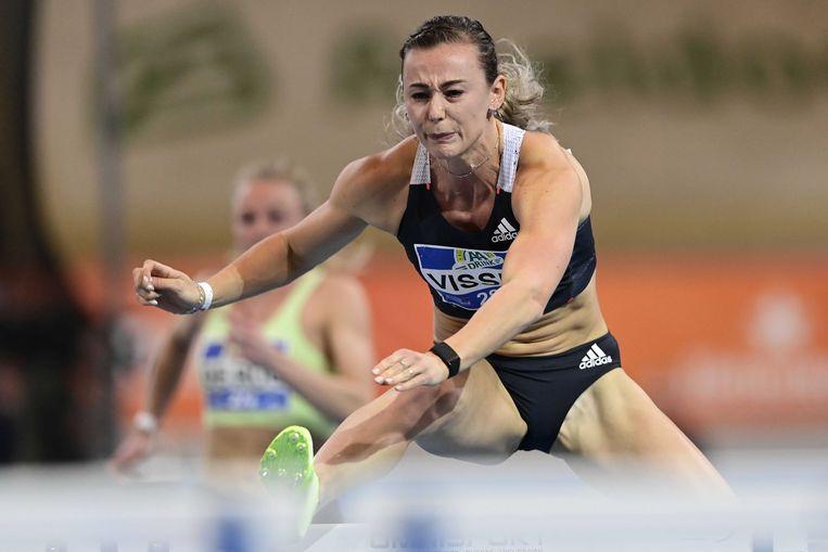 Nadine Visser wint de 60 meter horden tijdens de Nederlandse kampioenschappen, twee weken geleden. Beeld ANP