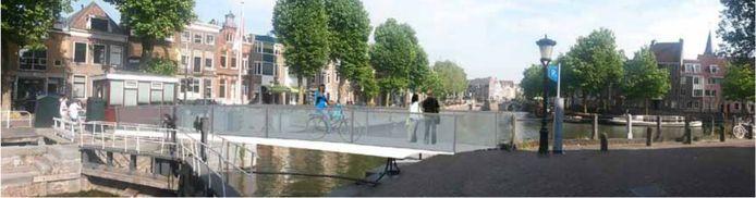 Een artist impression van hoe de brug aangelegd zou kunnen worden. Zicht vanaf Weerdsluis richting Oudegracht.