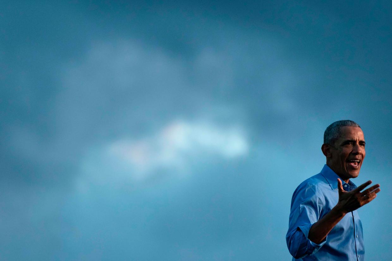 Barack Obama tijdens een campagnetoespraak in Philadelphia, Pennsylvania.