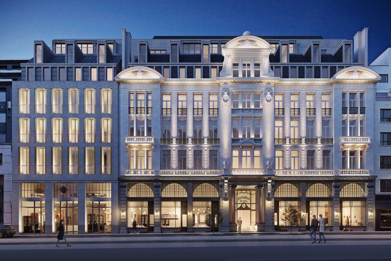 Hotel Astoria moet opnieuw een blikvanger worden in de Brusselse Koningsstraat.  Beeld Ma² - Metzger et Associés Architecture