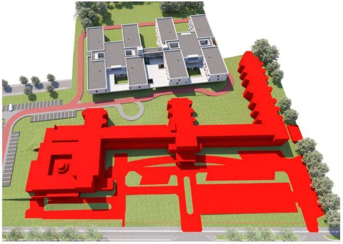 De verdere afbraak van het huidige woonzorgcentrum, waardoor je voor de nieuwbouw een groot openbaar park krijgt.