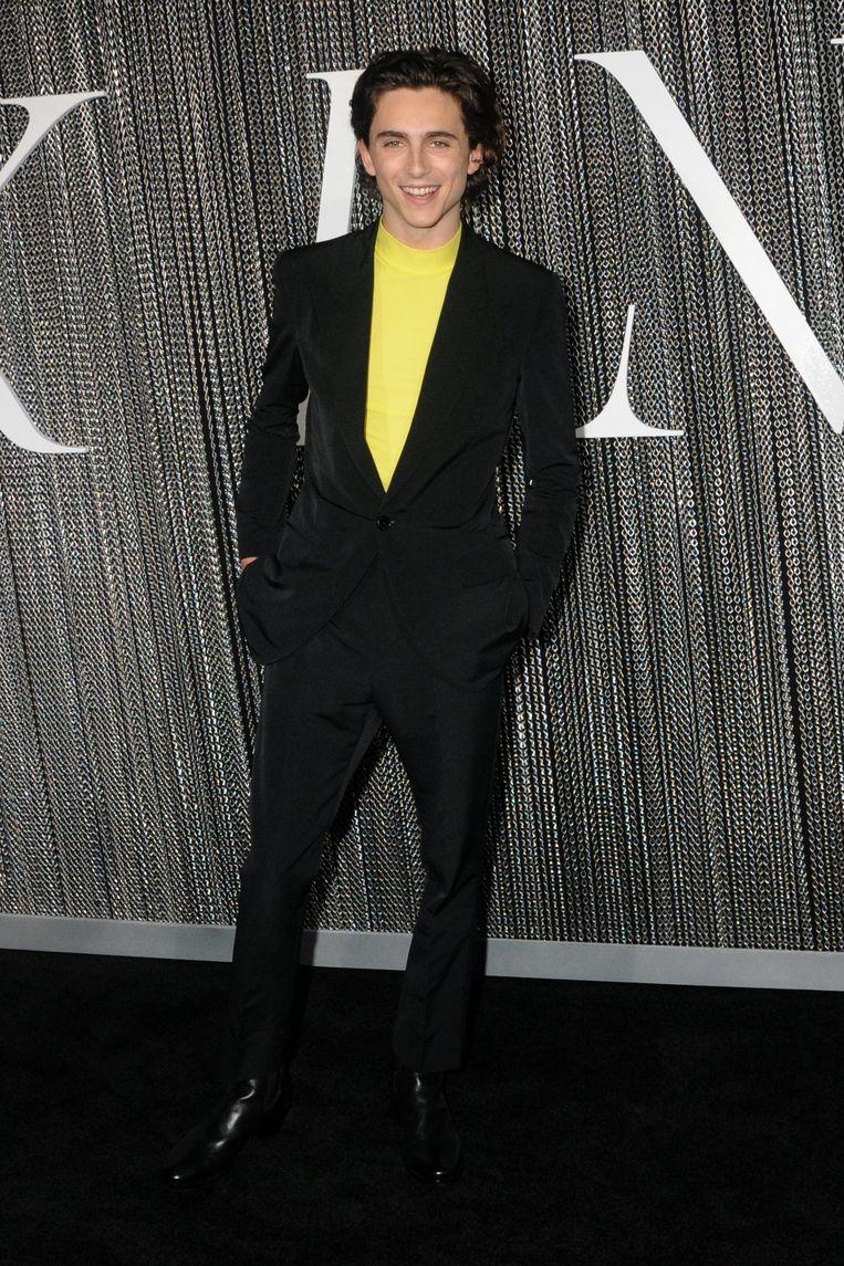 Timothee Chalamet op de première van The King in New York.