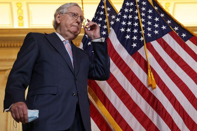 Senator Mitch McConnell, de leider van de Republikeinse minderheidsfractie in de Amerikaanse Senaat. Beeld Getty Images