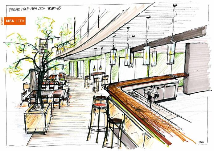 Impressie van de bar in het atrium.