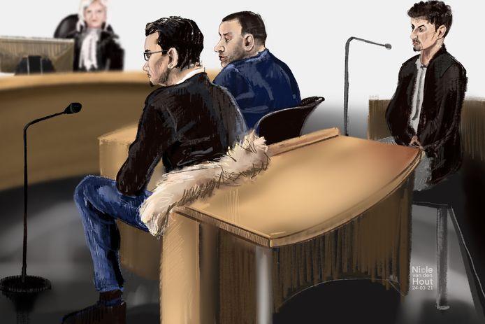 De verdachten R.B. (24) uit Gouda, M.A. (33) uit Bergambacht en B.S. (22) uit Rotterdam in de rechtbank.