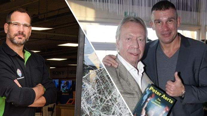 Links: Franchisenemer Lars Elferink van multimediagigant Boxxer moet een nieuwe voordeur bestellen voor zijn winkel. Rechts: Bennie Holtkamp (links) met vechtsporter Peter Aerts (rechts).