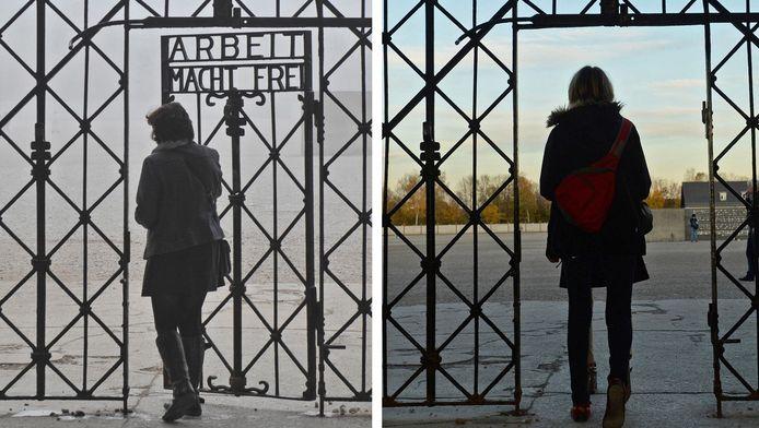 Een archieffoto en een foto uit 2014 van een vrouw die door de hoofdingang het voormalig concentratiekamp Dachau betreedt