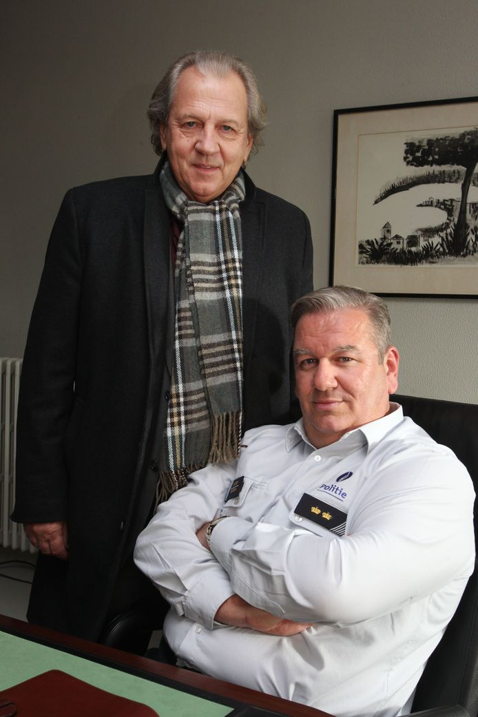 Hubert Damen en Wim Opbrouck in 2013 tijdens de opnames voor de film Witse