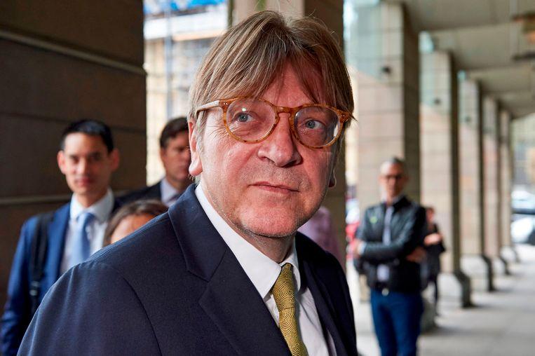 Guy Verhofstadt, fractieleider van de Europese liberalen (ALDE).  Beeld AFP