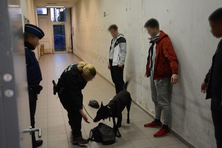 Een drugshond werd ingezet om treinreizigers te controleren.