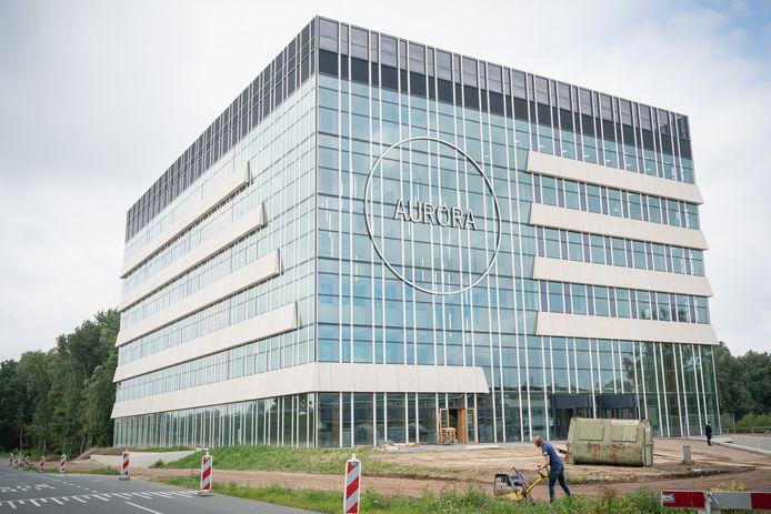 Het gebouw Aurora op de campus van Wageningen Universiteit in aanbouw.