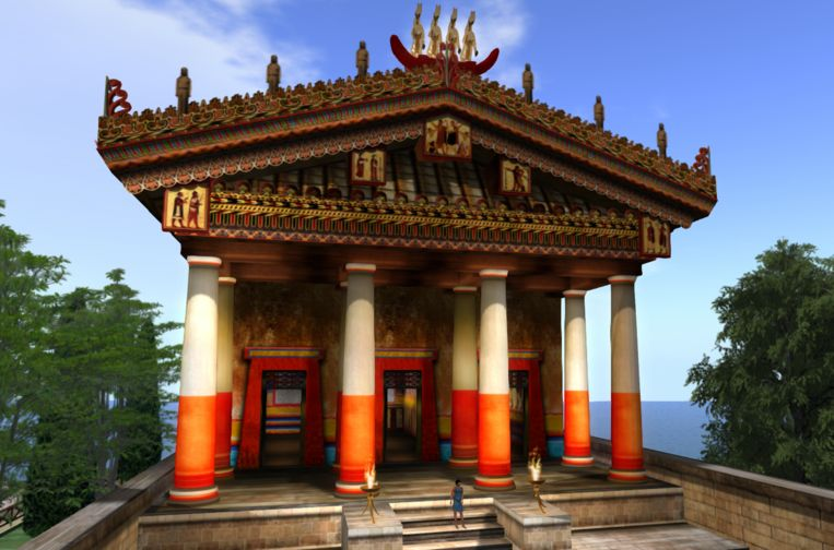 Een Romeinse tempel waaraan Bommerson heeft meegewerkt. Beeld Second Life