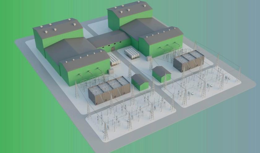 Voor het converterstation is zes hectare grond nodig. De bebouwing bereikt een maximale hoogte van 25 meter.