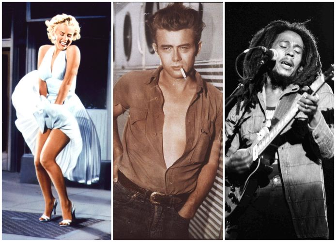 Marilyn Monroe, James Dean, Bob Marley