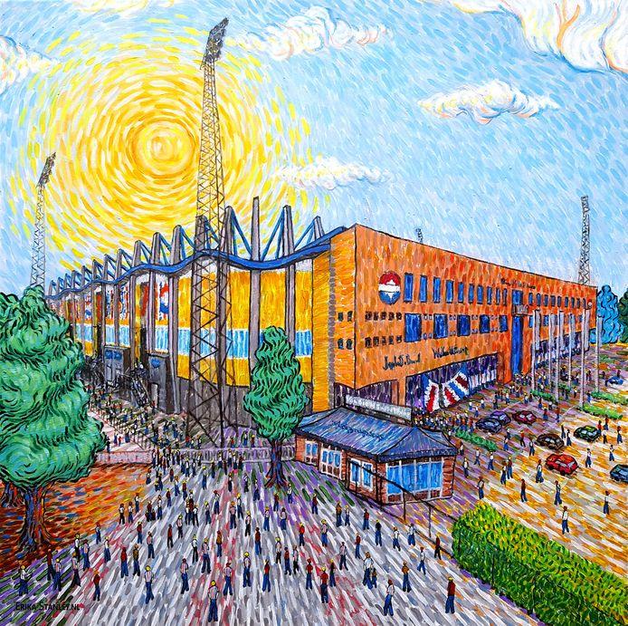 Het schilderij dat Erika Stanley maakte van het Koning Willem II Stadion.