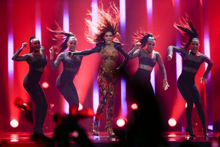 De Cypriotische Eleni Foureira werd tweede met het lied 'Fuego'.