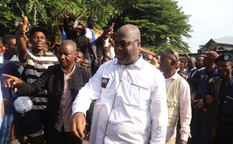 Felix Tshisekedi heeft een grote aanhang in sommige volkswijken van Kinshasa en in de Kasaï, maar elders is hij minder populair. Toch zou Kabila hem proberen te verleiden om als compromisfiguur het roer in handen te nemen. Beeld REUTERS